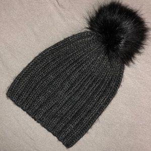 American Eagle Grey Pom Pom Hat